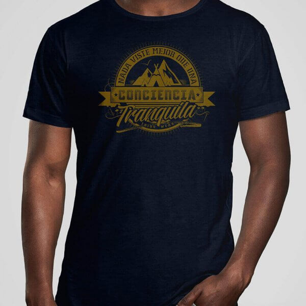 Camiseta orgánica hombre color navy modelo Conciencianavy